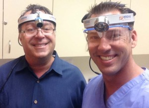 Dr. Bilodeau wearing the XLT-125 (on left) and Dr. Rouleau wearing the S-100 (on right).